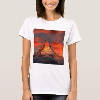 Mountain Switzerland Matterhorn Zermatt Red Sky T-Shirt
