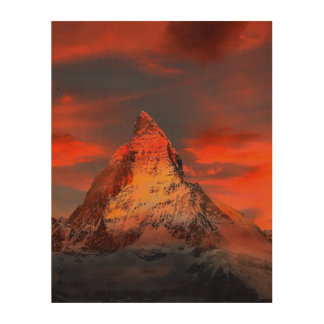 Mountain Switzerland Matterhorn Zermatt Red Sky Wood Print