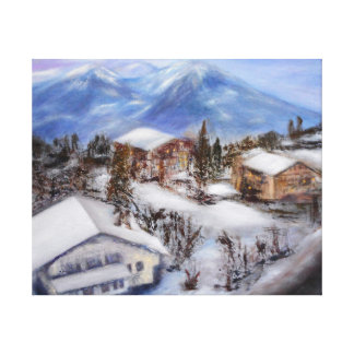 Mountain Top View of the Alps Wrapped Canvas