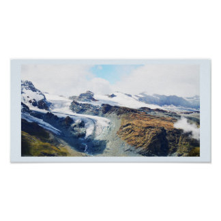 Mountain tops in the Swiss alps Poster