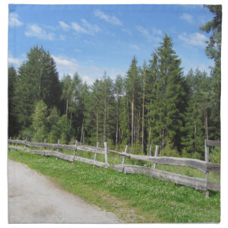Mountain trail with wooden fence foreground napkin