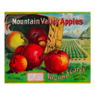 Mountain Valley Apple LabelHamilton, MT Poster
