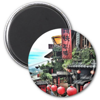 Mountain village and Chinese teahouse Magnet