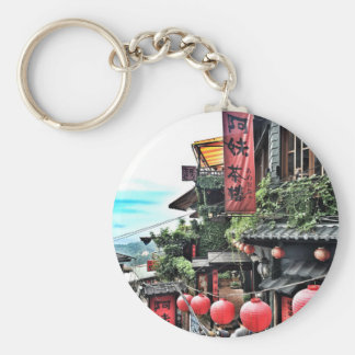 Mountain village and teahouse basic round button key ring