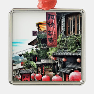 Mountain village and teahouse metal ornament