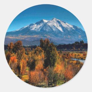 Mountain Warm Forest Cool Top Round Sticker