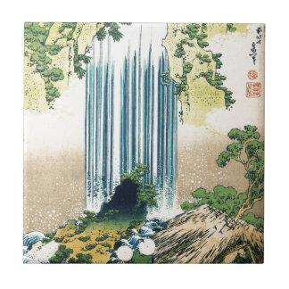 Mountain Waterfall Above Shack Ceramic Tile