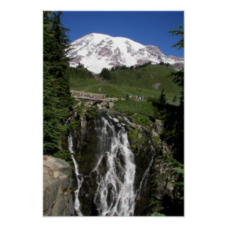 Mountain Waterfall Landscape Photo Poster
