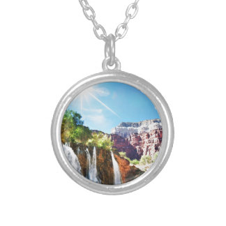 Mountain Waterfall Silver Plated Necklace