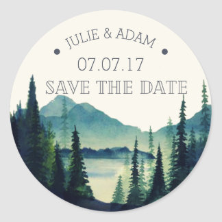 Mountain Wedding Save the Date Sticker