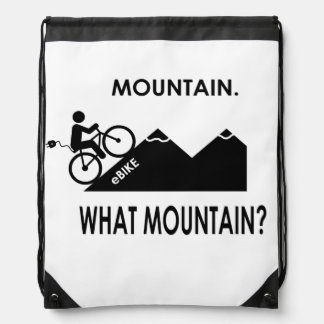"""Mountain. What mountain?"" drawstring bags"