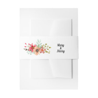 Mountain Wildflowers Watercolor Wedding Belly Band Invitation Belly Band