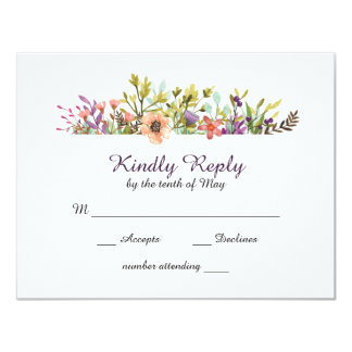 Mountain Wildflowers Watercolor Wedding RSVP Card