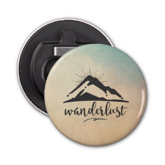 Mountain with Sunrays and Wanderlust Typography