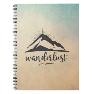 Mountain with Sunrays and Wanderlust Typography Spiral Notebook