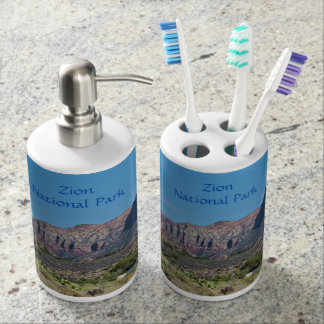 Mountain Zion National Park Soap Dispenser And Toothbrush Holder