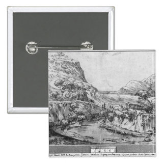 Mountainous landscape 15 cm square badge