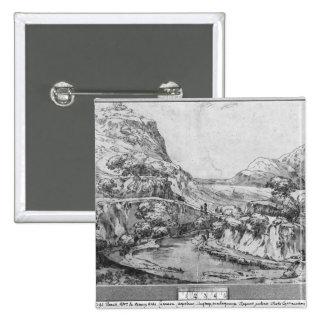 Mountainous landscape 15 cm square badge