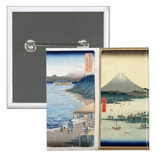 Mountains and coastline 15 cm square badge