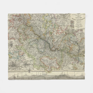 Mountains and Rivers of Hildburghausen Germany Fleece Blanket