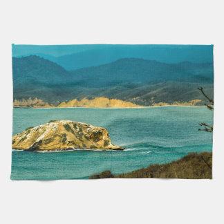 Mountains and Sea at Machalilla National Park Tea Towel