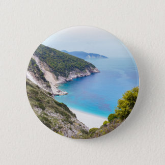 Mountains and sea in greek bay 6 cm round badge