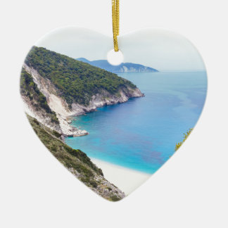 Mountains and sea in greek bay ceramic heart decoration