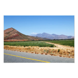 Mountains and Vineyards by a road in South Africa Photograph