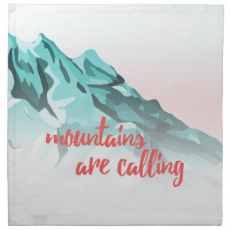Mountains Are Calling Typography Design Napkin