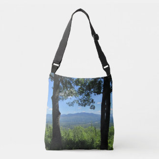 Mountains Between Two Trees Crossbody Bag