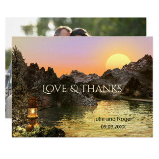 Mountains Custom Photo Wedding Thank You Card