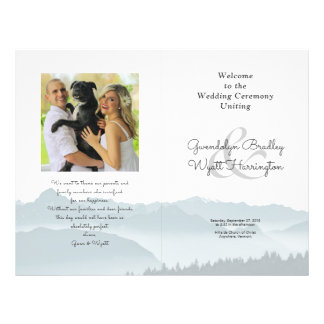 Mountains Folded Wedding Photo Program Template Flyer
