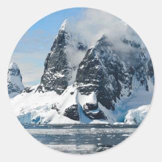 mountains ice bergs classic round sticker