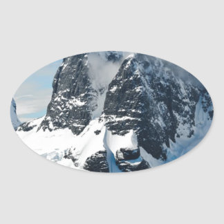 mountains ice bergs oval sticker
