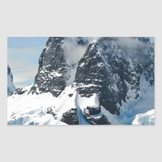 mountains ice bergs rectangular sticker