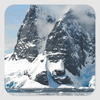 mountains ice bergs square sticker