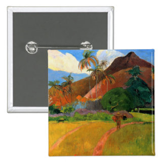 Mountains in Tahiti Gauguin painting warm colorful 15 Cm Square Badge
