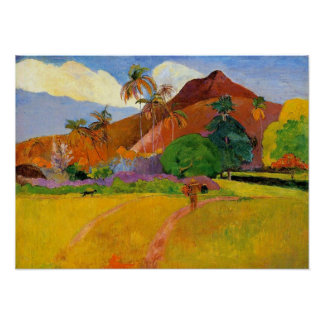 'Mountains in Tahiti' - Paul Gauguin Print