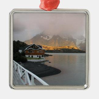 Mountains & Lake, Chile Silver-Colored Square Decoration