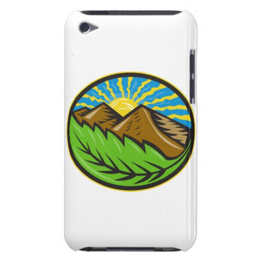 Mountains Leaf Sunburst Retro Barely There iPod Cases
