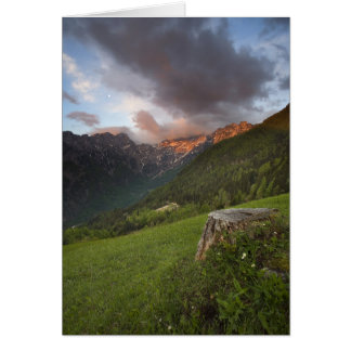 Mountains lit by sunrise in Slovenia Card