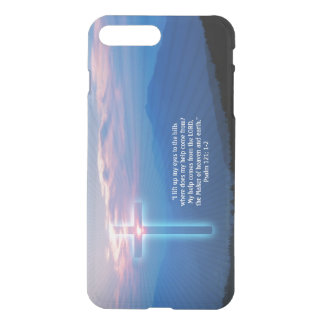 Mountains photo and cross. Psalm 121; 1-2 iPhone 8 Plus/7 Plus Case
