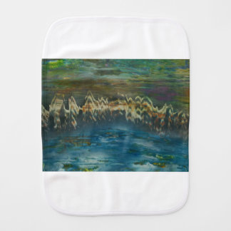 Mountains reflected in winter lake burp cloth