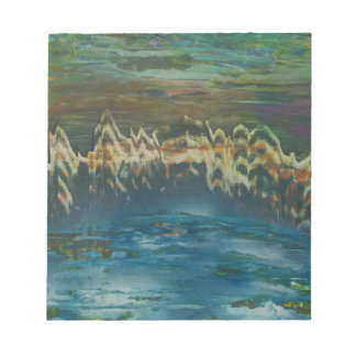 Mountains reflected in winter lake notepad