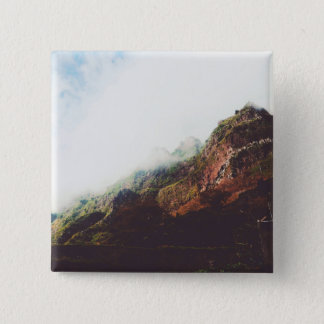 Mountains, Relaxing Nature Landscape Scene 15 Cm Square Badge