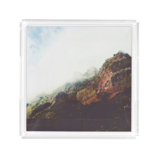 Mountains, Relaxing Nature Landscape Scene Acrylic Tray