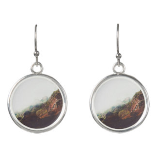 Mountains, Relaxing Nature Landscape Scene Earrings