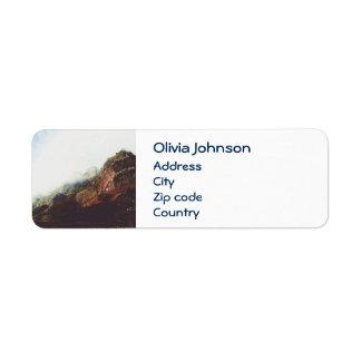 Mountains, Relaxing Nature Landscape Scene Return Address Label