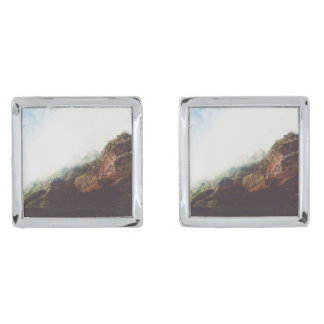 Mountains, Relaxing Nature Landscape Scene Silver Finish Cuff Links