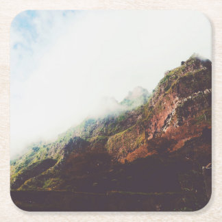 Mountains, Relaxing Nature Landscape Scene Square Paper Coaster